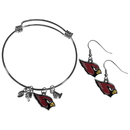 Siskiyou Buckle Arizona Cardinals Dangle Earrings and Charm Bangle Bracelet Set, FDEN035CBB