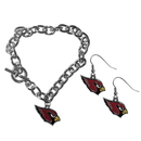 Siskiyou Buckle Arizona Cardinals Chain Bracelet and Dangle Earring Set, FDEN035CBR