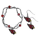 Siskiyou Buckle Arizona Cardinals Dangle Earrings and Crystal Bead Bracelet Set, FDEN035CYB
