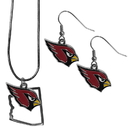 Siskiyou Buckle Arizona Cardinals Dangle Earrings and State Necklace Set, FDEN035SN
