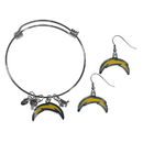 Siskiyou Buckle Los Angeles Chargers Dangle Earrings and Charm Bangle Bracelet Set, FDEN040CBB