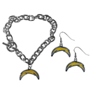 Siskiyou Buckle Los Angeles Chargers Chain Bracelet and Dangle Earring Set, FDEN040CBR