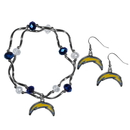Siskiyou Buckle Los Angeles Chargers Dangle Earrings and Crystal Bead Bracelet Set, FDEN040CYB