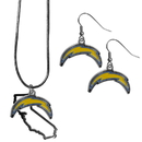 Siskiyou Buckle Los Angeles Chargers Dangle Earrings and State Necklace Set, FDEN040SN