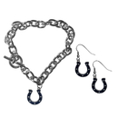 Siskiyou Buckle Indianapolis Colts Chain Bracelet and Dangle Earring Set, FDEN050CBR