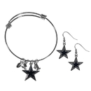 Siskiyou Buckle Dallas Cowboys Dangle Earrings and Charm Bangle Bracelet Set, FDEN055CBB