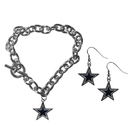 Siskiyou Buckle Dallas Cowboys Chain Bracelet and Dangle Earring Set, FDEN055CBR