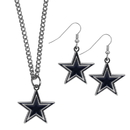 Siskiyou Buckle Dallas Cowboys Dangle Earrings and Chain Necklace Set, FDEN055FN