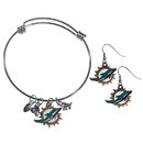 Siskiyou Buckle Miami Dolphins Dangle Earrings and Charm Bangle Bracelet Set, FDEN060CBB