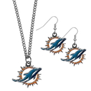 Siskiyou Buckle Miami Dolphins Dangle Earrings and Chain Necklace Set, FDEN060FN
