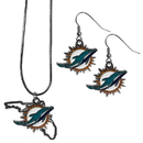 Siskiyou Buckle Miami Dolphins Dangle Earrings and State Necklace Set, FDEN060SN
