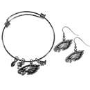 Siskiyou Buckle Philadelphia Eagles Dangle Earrings and Charm Bangle Bracelet Set, FDEN065CBB
