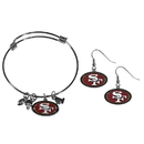 Siskiyou Buckle San Francisco 49ers Dangle Earrings and Charm Bangle Bracelet Set, FDEN075CBB