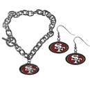 Siskiyou Buckle San Francisco 49ers Chain Bracelet and Dangle Earring Set, FDEN075CBR