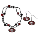 Siskiyou Buckle San Francisco 49ers Dangle Earrings and Crystal Bead Bracelet Set, FDEN075CYB