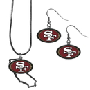 Siskiyou Buckle San Francisco 49ers Dangle Earrings and State Necklace Set, FDEN075SN