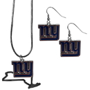 Siskiyou Buckle New York Giants Dangle Earrings and State Necklace Set, FDEN090SN