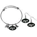 Siskiyou Buckle New York Jets Dangle Earrings and Charm Bangle Bracelet Set, FDEN100CBB