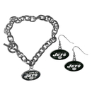 Siskiyou Buckle New York Jets Chain Bracelet and Dangle Earring Set, FDEN100CBR