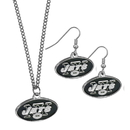 Siskiyou Buckle New York Jets Dangle Earrings and Chain Necklace Set, FDEN100FN