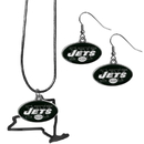 Siskiyou Buckle New York Jets Dangle Earrings and State Necklace Set, FDEN100SN