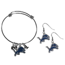 Siskiyou Buckle Detroit Lions Dangle Earrings and Charm Bangle Bracelet Set, FDEN105CBB