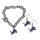 Siskiyou Buckle Detroit Lions Chain Bracelet and Dangle Earring Set, FDEN105CBR