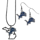 Siskiyou Buckle Detroit Lions Dangle Earrings and State Necklace Set, FDEN105SN