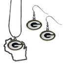 Siskiyou Buckle Green Bay Packers Dangle Earrings and State Necklace Set, FDEN115SN