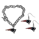 Siskiyou Buckle New England Patriots Chain Bracelet and Dangle Earring Set, FDEN120CBR