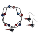 Siskiyou Buckle New England Patriots Dangle Earrings and Crystal Bead Bracelet Set, FDEN120CYB