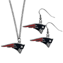 Siskiyou Buckle New England Patriots Dangle Earrings and Chain Necklace Set, FDEN120FN