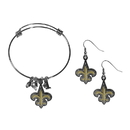 Siskiyou Buckle New Orleans Saints Dangle Earrings and Charm Bangle Bracelet Set, FDEN150CBB