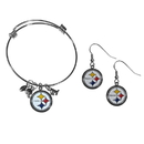 Siskiyou Buckle Pittsburgh Steelers Dangle Earrings and Charm Bangle Bracelet Set, FDEN160CBB
