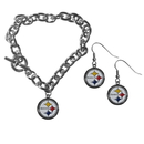Siskiyou Buckle Pittsburgh Steelers Chain Bracelet and Dangle Earring Set, FDEN160CBR