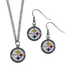 Siskiyou Buckle Pittsburgh Steelers Dangle Earrings and Chain Necklace Set, FDEN160FN