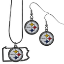 Siskiyou Buckle Pittsburgh Steelers Dangle Earrings and State Necklace Set, FDEN160SN