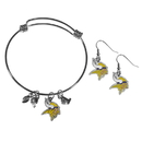 Siskiyou Buckle Minnesota Vikings Dangle Earrings and Charm Bangle Bracelet Set, FDEN165CBB