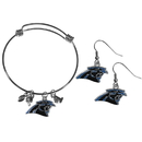 Siskiyou Buckle Carolina Panthers Dangle Earrings and Charm Bangle Bracelet Set, FDEN170CBB