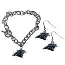 Siskiyou Buckle Carolina Panthers Chain Bracelet and Dangle Earring Set, FDEN170CBR
