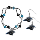 Siskiyou Buckle Carolina Panthers Dangle Earrings and Crystal Bead Bracelet Set, FDEN170CYB