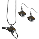 Siskiyou Buckle Jacksonville Jaguars Dangle Earrings and State Necklace Set, FDEN175SN