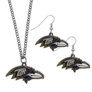 Siskiyou Buckle Baltimore Ravens Dangle Earrings and Chain Necklace Set, FDEN180FN