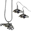 Siskiyou Buckle Baltimore Ravens Dangle Earrings and State Necklace Set, FDEN180SN