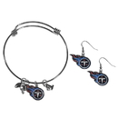 Siskiyou Buckle Tennessee Titans Dangle Earrings and Charm Bangle Bracelet Set, FDEN185CBB