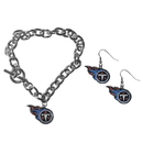 Siskiyou Buckle Tennessee Titans Chain Bracelet and Dangle Earring Set, FDEN185CBR
