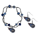 Siskiyou Buckle Tennessee Titans Dangle Earrings and Crystal Bead Bracelet Set, FDEN185CYB