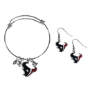 Siskiyou Buckle Houston Texans Dangle Earrings and Charm Bangle Bracelet Set, FDEN190CBB