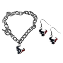 Siskiyou Buckle Houston Texans Chain Bracelet and Dangle Earring Set, FDEN190CBR