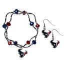Siskiyou Buckle Houston Texans Dangle Earrings and Crystal Bead Bracelet Set, FDEN190CYB